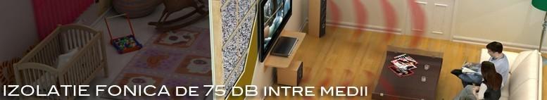 Structura formata cu BlockTec 70 si HD Foam Plus ofera un confort acustic de 75 dB